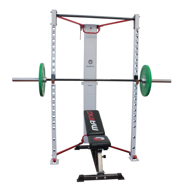 MRS24-white-red-crosstraining-functional-garage-gym-solution-safety-bars-bench